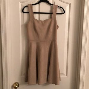Francesca's Tan Suede Scalloped Dress - Small